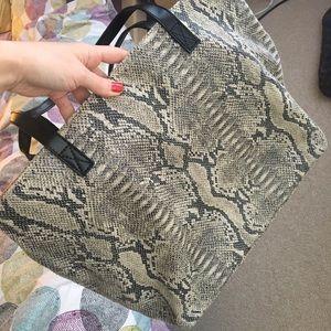 MANGO Snake Skin Textile Medium Tote